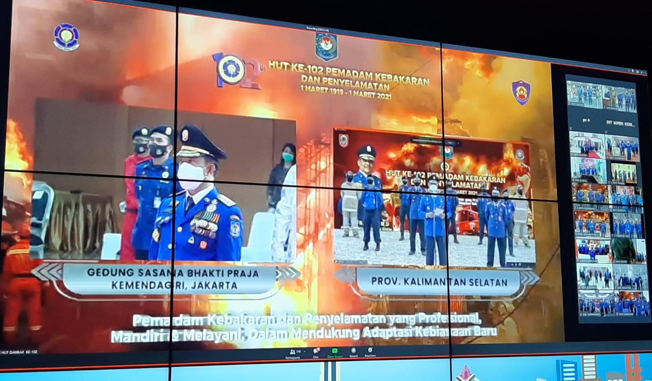 Damkar Kabupaten Banjar Ikuti Upacara Tingkat Nasional HUT Ke-102 Pemadam Kebakaran Dan Penyelamatan Tahun 2021 Secara Virtual